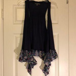 Sweater ruffle vest boho navy floral sleeveless